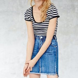 Denim mid-length skirt with distressed hem